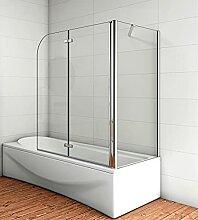 Acezanble Badewannenaufsatz 110x80cm Eck Duschwand