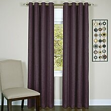 Achim Home Furnishings Taylor Lined Blackout Grommet Window Curtain Panel, Polyester, aubergine, 50 x 63