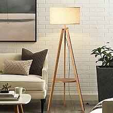 ACHNC Dreibein Stehlampe LED, Holz Stehleuchte