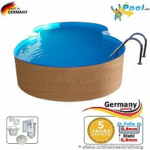Achtformbecken Holz-Muster 7,25 x 4,6 x 1,2 Achtform-Pool Wood achtform Pool Einbau Pools Holz Aufstellpool Swimmingpool Achtformpool Gartenpool Aufstellbecken Holzpool Schwimmbecken Se
