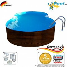 Achtformbecken Holz-Optik 5,25 x 3,2 x 1,2 Dark Wood-Muster achtform Pool Einbau Pools Holz Aufstellpool Swimmingpool Achtformpool Gartenpool Aufstellbecken Holzpool Schwimmbecken Se