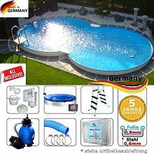 Achtformpool 8,55 x 5,00 x 1,20 Set Swimmingpool
