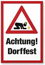 Achtung Dorffest (Bauernfest), Kunststoff Schild