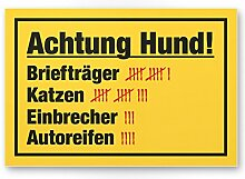 Achtung Hund Strichliste Lustig (gelb) - Hunde