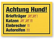 Achtung Hund Strichliste Lustig (gelb) - Hunde Schild, Hinweisschild Gartentor / Gartenzaun - Türschild Haustüre, Warnschild Abschreckung und Einbruchschutz