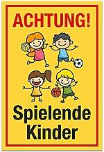 Achtung Spielende Kinder Schild (gelb-rot, 20 x 30cm), Hinweisschild, Warnzeichen, Warnschild - Verkehrsschild langsam fahren, Warnung, Hinweis Spielstraße und Spielplatz - Vorsicht spielende Kinder