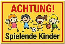 Achtung Spielende Kinder Schild (gelb-rot, 30 x 20cm), Hinweisschild, Warnzeichen, Warnschild - Verkehrsschild langsam fahren, Warnung, Hinweis Spielstraße und Spielplatz - Vorsicht spielende Kinder