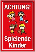 Achtung Spielende Kinder Schild (rot, 20 x 30cm), Hinweisschild, Warnzeichen, Warnschild - Verkehrsschild langsam fahren, Warnung, Hinweis Spielstraße und Spielplatz - Vorsicht spielende Kinder