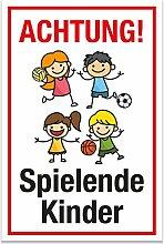 Achtung Spielende Kinder Schild (weiß-rot, 20 x 30cm), Hinweisschild, Warnzeichen, Warnschild - Verkehrsschild langsam fahren, Warnung, Hinweis Spielstraße und Spielplatz - Vorsicht spielende Kinder