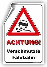 Achtung! VERSCHMUTZTE FAHRBAHN - SCHILD / D-011 (40x60cm Aufkleber)