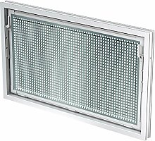 ACO 80x50cm Nebenraumfenster Einfachglas + Schutzgitter Kippfenster Fenster weiß