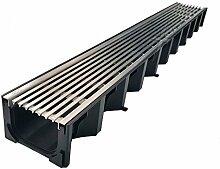 ACO Self® Entwässerungsrinne mit Edel-Stahl Längsstab-Stegrost 100cm