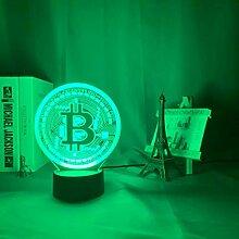 Acryl 3D-LED-Lampe Bitcoin für raumdekorative