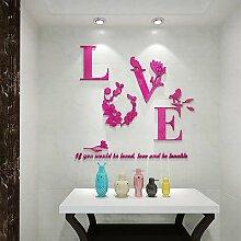 Acryl 3D Spiegeleffekt liebe Aufkleber Wandaufkleber mit Blumenschmuck für Wohnkultur Blumen Aufkleber, Rosa