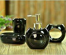 Acryl/Kunststoff/Keramik/Badezimmer Zubehör Set, 4 Stück Von Bad-Accessoires, Seife Fach, Dispenser, Zahnbürstenhalter Und Walze, Schwarz