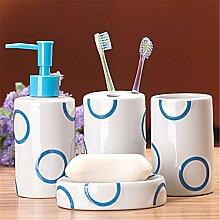 Acryl/Kunststoff/Keramik/Badezimmer Zubehör Set, 4 Stück Von Bad-Accessoires, Seife Fach, Dispenser, Zahnbürstenhalter Und Rolle, Blau