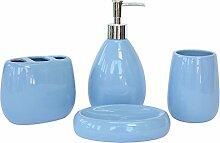 Acryl/Kunststoff/Keramik/Badezimmer Zubehör Set, 4 Stück Von Bad-Accessoires, Seife Fach, Dispenser, Zahnbürstenhalter Und Walze, Wasser Blau