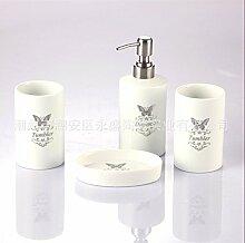 Acryl/Kunststoff/Keramik/Badezimmer Zubehör Set, 4 Stück Von Bad-Accessoires, Seife Fach, Dispenser, Zahnbürstenhalter Und Walze, C