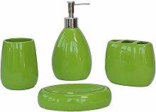 Acryl/Kunststoff/Keramik/Badezimmer Zubehör Set, 4 Stück Von Bad-Accessoires, Seife Fach, Dispenser, Zahnbürstenhalter Und Walze, Frucht Grün