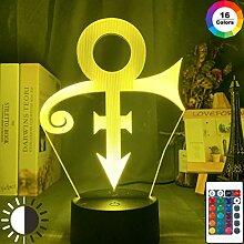 Acryl LED Nachtlicht Prince Symbol Logo Nachtlicht
