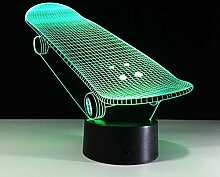 Acryl Nachtlicht 3D Lampe Skateboard 7 Farbe Led