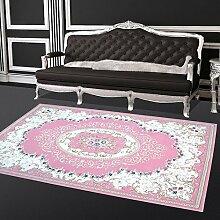 Acryl-Teppich Flachflor Hochwertig Ornamente Blumen Mäander Harem Klassisch Rosa Blau 120x170 cm