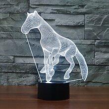 Acryl Visual Stereo Tischlampe, bunte süße Pony,