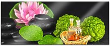 Acrylglasbild 100x40cm Bergamotte Steine Wellness