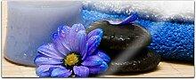 Acrylglasbild 100x40cm Wellness Spa Blumen blau