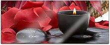Acrylglasbild 100x40cm Wellness Spa rot Kerze