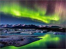 Acrylglasbild 90 x 70 cm: Island: Polarlichter am
