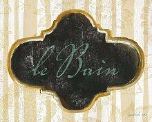 Acrylglasbild Danhui Nai - le Bain - 63 x 50cm - Premiumqualität - Türschild, Badezimmer, Tapetenmuster, Nostalgie, Kalligrafie, Bad - MADE IN GERMANY - ART-GALERIE-SHOPde