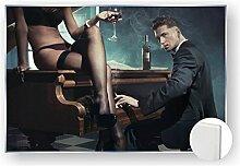 Acrylglasbild Glasbild Bild 5mm edel Erotik Piano Bar Frau Weinglas Farbe color, Größe 100 x 80 cm