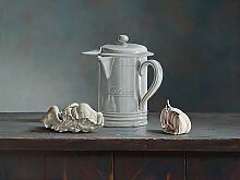 Acrylglasbild Rob Møhlmann - Nose - 40 x 30cm - Premiumqualität - , Stillleben, Tisch, Holztisch, Kaffeekanne, Nostalgie, Bruchstücke, Skulptur, Nase, Trep.. - MADE IN GERMANY - ART-GALERIE-SHOPde