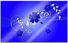 Acrylglasbilder 80x50cm Blumen Blumenranke blau