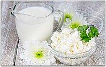 Acrylglasbilder 80x50cm Milch Käse Blumen Blume