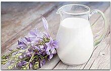 Acrylglasbilder 80x50cm Milch Kanne weiß lila