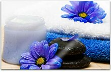 Acrylglasbilder 80x50cm Wellness Spa Blumen blau