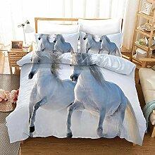 ACVMF Bettwäsche Zwei Weiße Pferde 3 Teilig aus