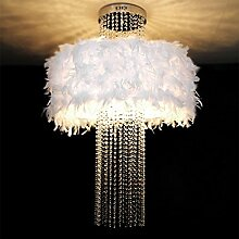 ACZZ Kristallleuchter, hängende weiße Federn,