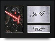 Adam Treiber unterzeichnet A4Gedruckt Autogramm, Star Wars Kylo REN Print Foto Bild Display–tolle Geschenkidee