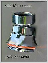 Adapter M16 Innengewinde mit Kugelgelenk auf M22 Aussengewinde. M16x1 IG auf M22x1 AG + Gelenk. Ideal für innenliegende M 16 Außengewinde bei Armaturen. Auch zum Anschluß eines Aquadea Kristall-Gold Trinkwasser Wirblers an solch einen Wasserhahn.