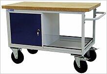 ADB Tischwagen | Werkstattwagen | Rollende Werkbank Mobil 1 Schrank mit 1 Fachboden + Ablageboden RAL 7035/5010