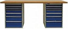 ADB Werkbank mit 2x Schubladenbox 7 Schubladen Arbeitsplatte 1500 o 2000 mm, Größe:1500 x 750 x 50 mm