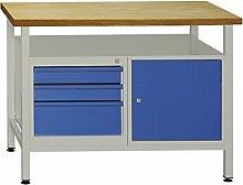 ADB Werkbank Werktisch -Profi- mit 3 Schubladen + 1 Tür 1 Fachboden, RAL 7035/5012