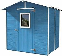 addei Vogelhaus Box Gartenhaus aus Holz Blau-Werkzeug mit Tür und Fenster 200x 167x 214cm