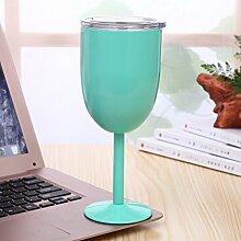 Addfun®Rostfreier Stahl Weingläser,10oz Vakuum Bunt 304 Rostfreier Stahl Doppelwandig Weinglas Mit Deckel für Täglicher Gebrauch,Kampieren&Picknick(Hellgrün)