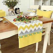 ADDMAT® Moderne Tischläufer Tuch Esstisch Couchtisch Streifen Tischläufer Tv Schrank Tischdecke Gelb , 33*160Cm