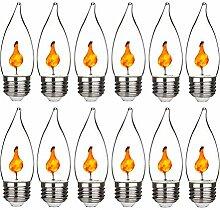 ADLOASHLOU 12 Stück Flamme Glühlampe LED