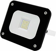 AdLuminis SMD LED Fluter Flutlicht-Strahler im edlen Glas Design schwarz, 20 Watt 1800 Lumen, Energieklasse A++, Aluminium-Gehäuse, als Innen- und Außenstrahler
